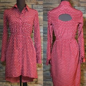 Xhilaration key hole back polka dot dress size XS